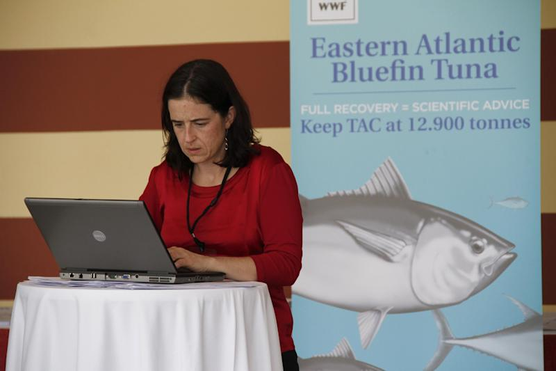 Shark expert Allison Perry of Oceana Europe works on her computer outside the conference for the 18th meeting of the International Commission for the Conservation of Atlantic Tuna in Agadir, Morocco, which declined to put in new protections for endangered shark populations on Monday Nov. 19, 2012. Member nations of the fisheries group did agree to maintain strict quotas to stop overfishing of severely depleted bluefin tuna stocks. (AP Photo/Paul Schemm)
