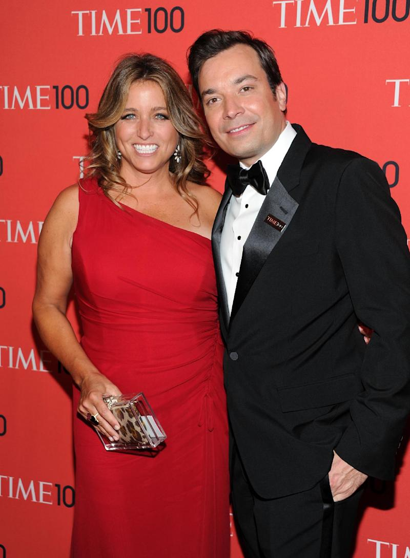 "FILE - In this April 23, 2013 file photo shows talk show host Jimmy Fallon and his wife Nancy Juvonen at the TIME 100 Gala celebrating the ""100 Most Influential People in the World"" at Jazz at Lincoln Center in New York. A representative says Fallon and his wife, Nancy Juvonen Fallon, welcomed a baby daughter Tuesday, July 23. (Photo by Evan Agostini/Invision/AP, File)"