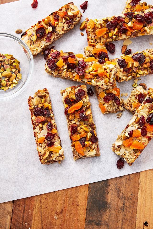 "<p>Go wild with the toppings, and swap out mix seeds and flaked almonds for anything you want!</p><p>Get the <a href=""https://www.delish.com/uk/cooking/recipes/a30268719/healthy-flapjack-recipe/"" target=""_blank"">Bircher Flapjacks</a> recipe. </p>"