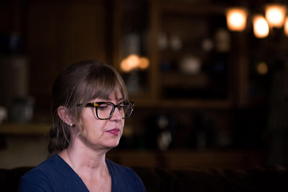 Kristen, mother to twin boys Charlie and Sam, at her home in Texas. Her sons allege that celebrity cheerleader, Jerry Harris, solicited them for sex and sexually explicit photos. USA TODAY agreed to withhold their last name because the boys are minors and alleging abuse.