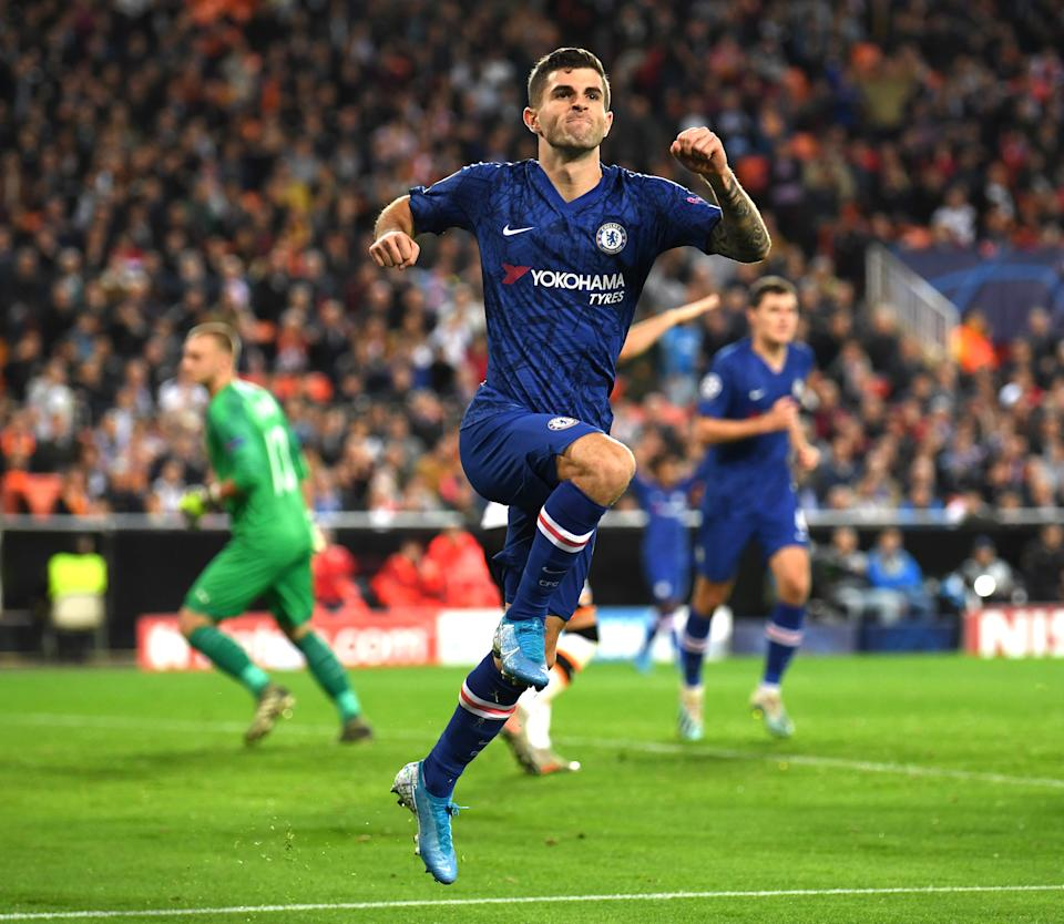 VALENCIA, SPAIN - NOVEMBER 27: Christian Pulisic of Chelsea celebrates after scoring his team's second goal during the UEFA Champions League group H match between Valencia CF and Chelsea FC at Estadio Mestalla on November 27, 2019 in Valencia, Spain. (Photo by Darren Walsh/Chelsea FC via Getty Images)