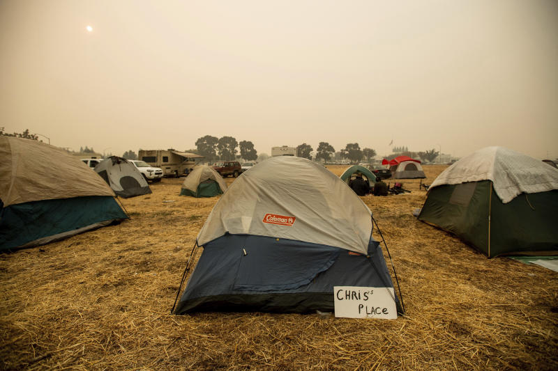 A makeshift shelter for evacuees in Chico, California, on Wednesday. (Noah Berger/Associated Press)