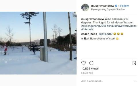 Olympic British cross-country skier Andrew Musgrave posts on social media in the run up to the Pyeongchang