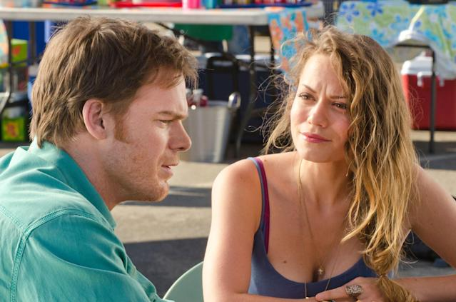 """Michael C. Hall as Dexter Morgan and Bethany Joy Lenz as Cassie in the """"Dexter"""" Season 8 episode, """"A Little Reflection."""""""