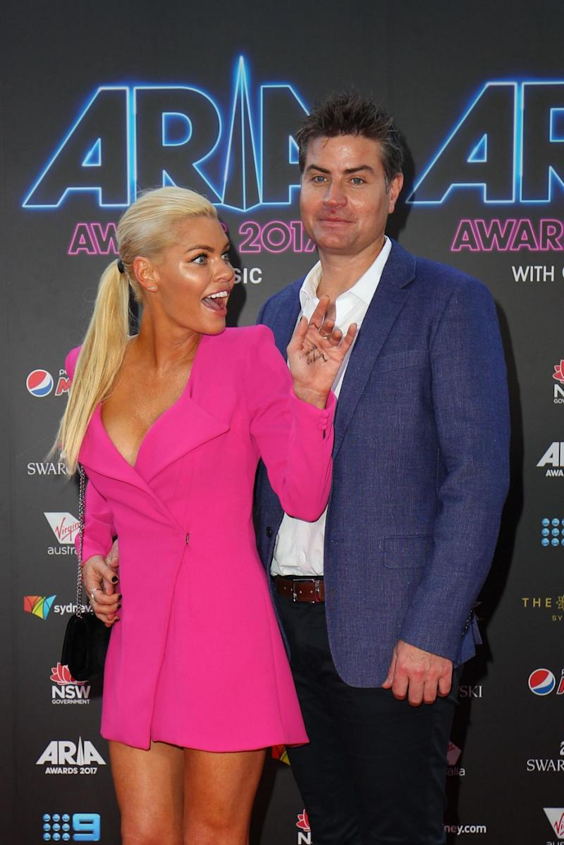 Sophie Monk and Stu Laundy arrive for the 31st Annual ARIA Awards 2017 at The Star on November 28, 2017 in Sydney, Australia. Source: Getty