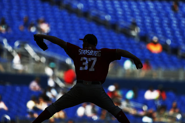 Washington Nationals starting pitcher Stephen Strasburg (37) delivers during the sixth inning of a baseball game against the Miami Marlins on Sunday, April 21, 2019, in Miami. (AP Photo/Brynn Anderson)