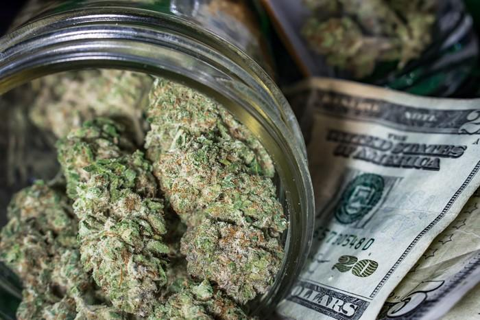 A clear jar packed with dried cannabis buds that's lying atop a small pile of cash.