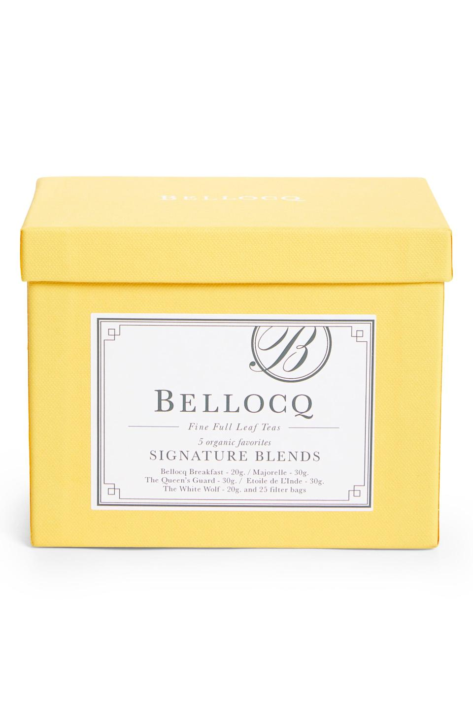 """<p><strong>BELLOCQ</strong></p><p>nordstrom.com</p><p><strong>$36.00</strong></p><p><a href=""""https://go.redirectingat.com?id=74968X1596630&url=https%3A%2F%2Fwww.nordstrom.com%2Fs%2Fbellocq-signature-blends-5-blend-organic-tea-collection%2F5728701&sref=https%3A%2F%2Fwww.redbookmag.com%2Ffood-recipes%2Fg35419747%2Fbest-tea-brands%2F"""" rel=""""nofollow noopener"""" target=""""_blank"""" data-ylk=""""slk:Shop Now"""" class=""""link rapid-noclick-resp"""">Shop Now</a></p><p>Based out of Greenpoint, Brooklyn, this exclusive tea emporium specialized in single origin, whole leaf pure teas and unique, elegant handmade blends that are perfect for true tea aficionados. </p>"""