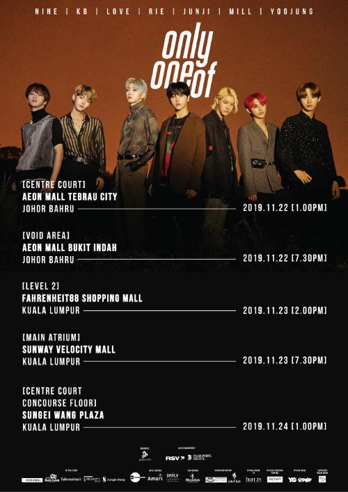 Here are all the places OnlyOneOf will perform at in Malaysia.