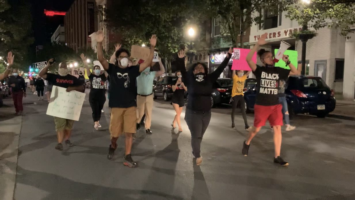 Protestors gathered in Allentown Saturday night to confront city police and the mayor, demanding answers after a video circulating social media shows an officer pressing his knee into a man's neck. They marched from 7th and Hamilton to the police precinct at 10th and Hamilton Streets.