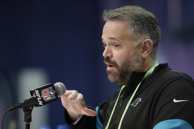 Matt Rhule said Teddy Bridgewater appealed to the Panthers because he knows their offense. (AP Photo/Michael Conroy)