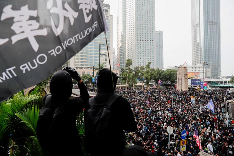 Anti-government protesters attend a rally to call for democratic reforms in Hong Kong
