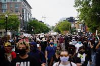 Demonstrators march to the White House as they protest against the death in Minneapolis of George Floyd while marching in Washington