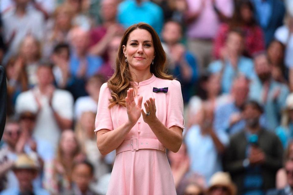 Kate Middleton attends the men's final at the 2021 Wimbledon Championships at the AELTC in London, UK on July 11, 2021. - Credit: AP