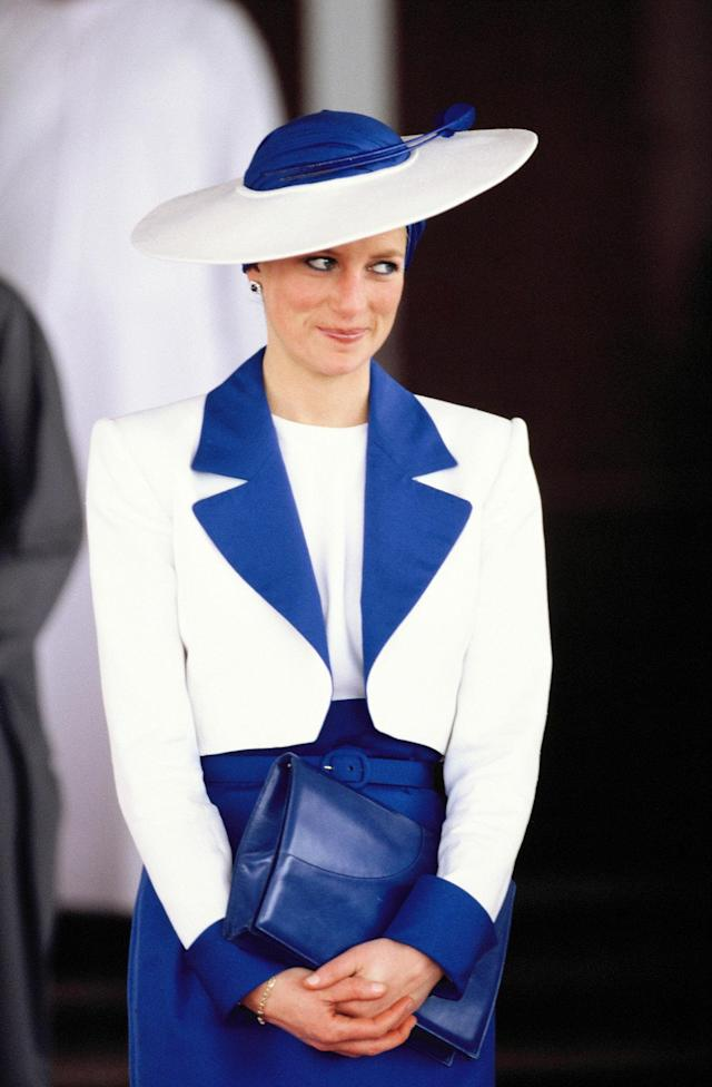 <p>Catherine Walker suits were a mainstay during Diana's tenure as the future queen of England. (Photo: Georges De Keerle/Getty Images) </p>