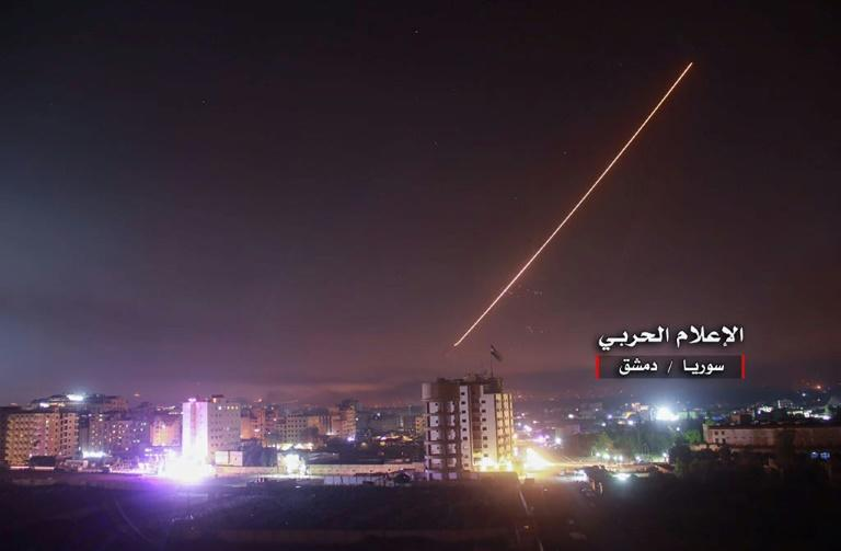 An image released by a Damascus-affiliated news outlet  on May 10, 2018 shows what it says are air defences intercepting Israeli missiles in Syrian airspace