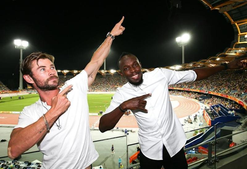 Actor Chris Hemsworth with sprinter Usain Bolt at the 2018 Commonwealth Games. Source: Instagram/chrishemsworth