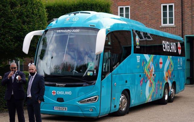 England's team bus waits to depart for Wembley