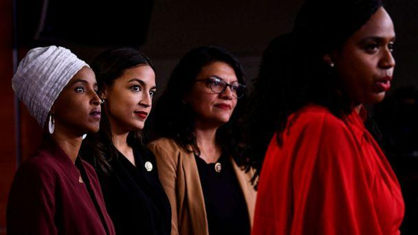 PHOTO: Rep. Ayanna Pressley speaks as, Rep. Ilhan Abdullahi Omar, Rep. Rashida Tlaib and Rep. Alexandria Ocasio-Cortez hold a press conference to address remarks made by President Donald Trump earlier in the day, in Washington, July 15, 2019. (Brendan Smialowski/AFP/Getty Images)