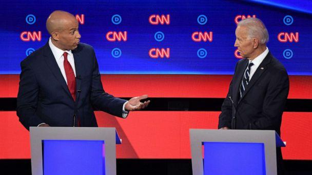 PHOTO: Sen. Cory Booker and former Vice President speak during the second round of the second Democratic primary debate in Detroit, July 31, 2019. (Jim Watson/AFP/Getty Images)