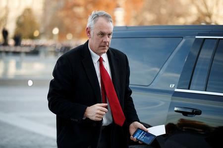 FILE PHOTO: U.S. Secretary of the Interior Ryan Zinke arrives at the U.S. Capitol prior to the service for former President George H. W. Bush in Washington, DC, USA, 03 December 2018. Shawn Thew/Pool via REUTERS