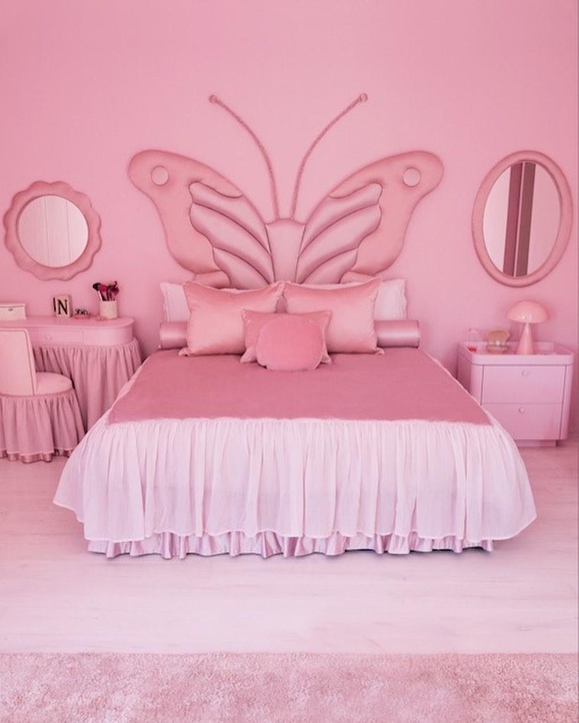 North West's pink butterfly room stands out. (Photo: Architectural Digest/Instagram)