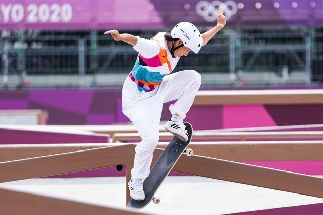 Momiji Nishiya competes during the women's street skateboarding final on day three of the Tokyo 2020 Olympic Games. (Photo: VCG via Getty Images)