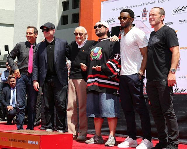 Todd McFarlane, Kevin Feige, Stan Lee, Kevin Smith, Chadwick Boseman, and Clark Gregg (Photo: Jacob Kramer/Yahoo)