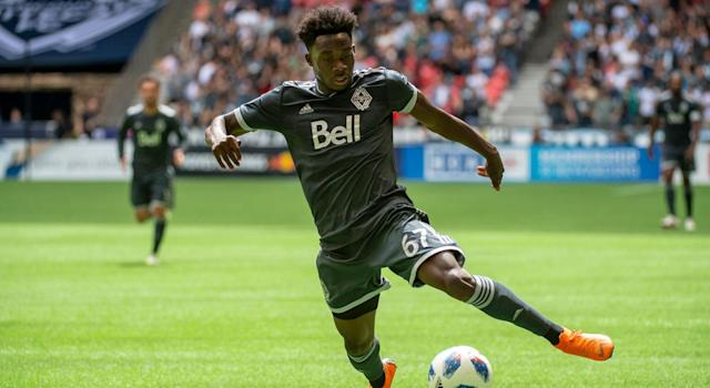 Canadian star Alphonso Davies is on the verge of completing a record transfer. (Getty)
