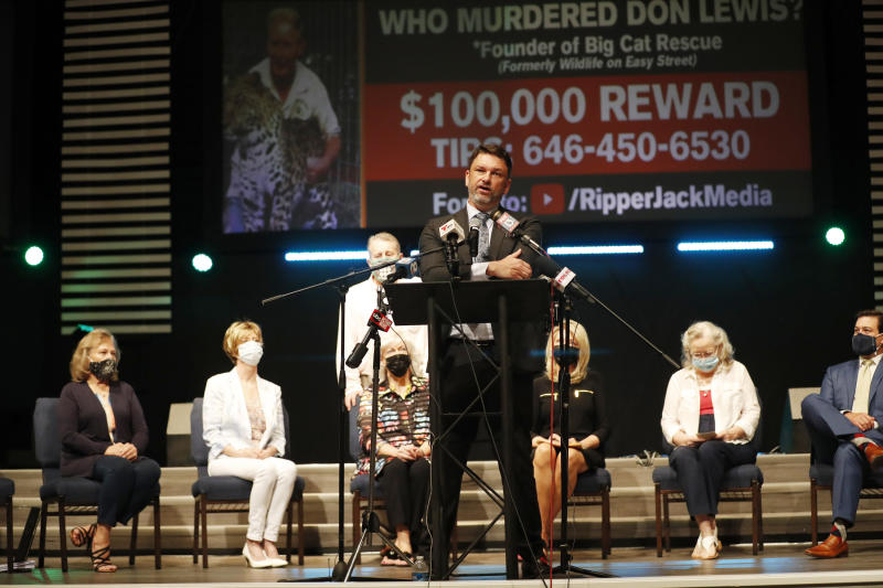 TAMPA, FL - AUGUST 10: Attorney John Phillips speaks on the Lewis family during a news conference at Riverhills Church of God on August 10, 2020 in Tampa, Florida. The surviving daughters of Don Lewis announced during a news conference they have filed a complaint in Hillsborough County court against Tiger King subjects Kenny Farr and Carole Baskin. (Photo by O. Jones/Getty Images)