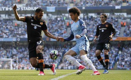 Britain Football Soccer - Manchester City v Hull City - Premier League - Etihad Stadium - 8/4/17 Manchester City's Leroy Sane in action with Hull City's Ahmed Elmohamady Reuters / Andrew Yates Livepic