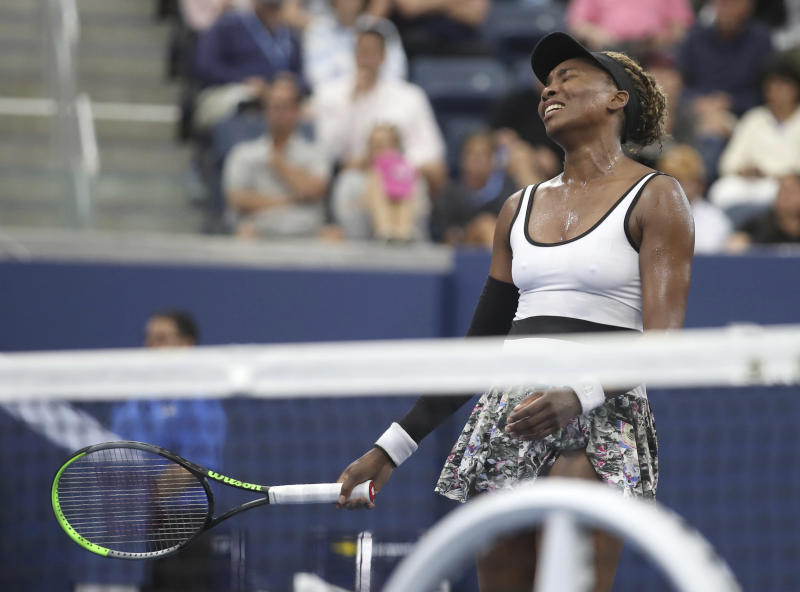 Venus Williams, of the United States, reacts after losing a point to Elina Svitolina, of Ukraine, during the second round of the US Open tennis championships Wednesday, Aug. 28, 2019, in New York. (AP Photo/Michael Owens)