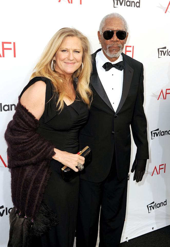 Lori McCreary and Morgan Freeman arrive at AFI's 40th Annual Life Achievement Award held at Sony Pictures Studios on June 7, 2012 in Culver City, California.