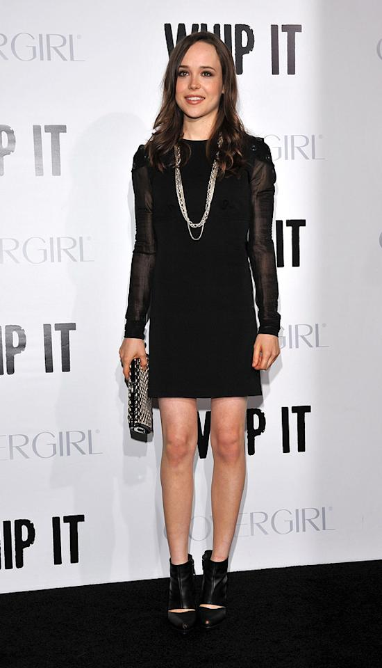 """<a href=""""http://movies.yahoo.com/movie/contributor/1808438069"""">Ellen Page</a> at the Los Angeles premiere of <a href=""""http://movies.yahoo.com/movie/1810036665/info"""">Whip It!</a> - 09/29/2009"""