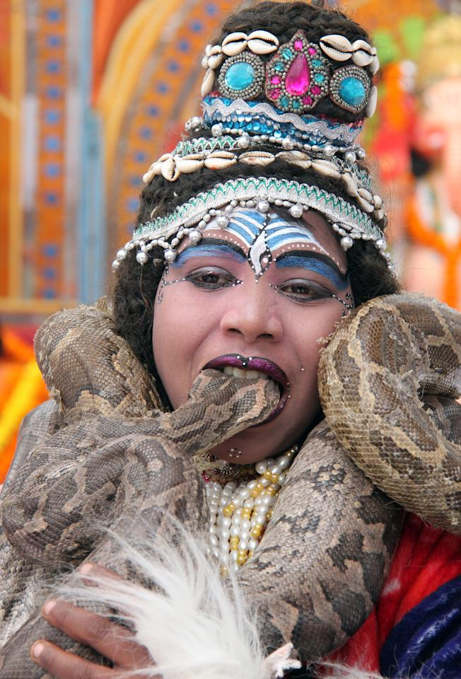 A boy dressed as Hindu Lord Shiva bites the head of a python while performing at a park near a temple during the Mahashivratri festival in the northern Indian city of Chandigarh February 20, 2012. Hindus across the country celebrate Mahashivratri, better known as the Lord Shiva's wedding anniversary.