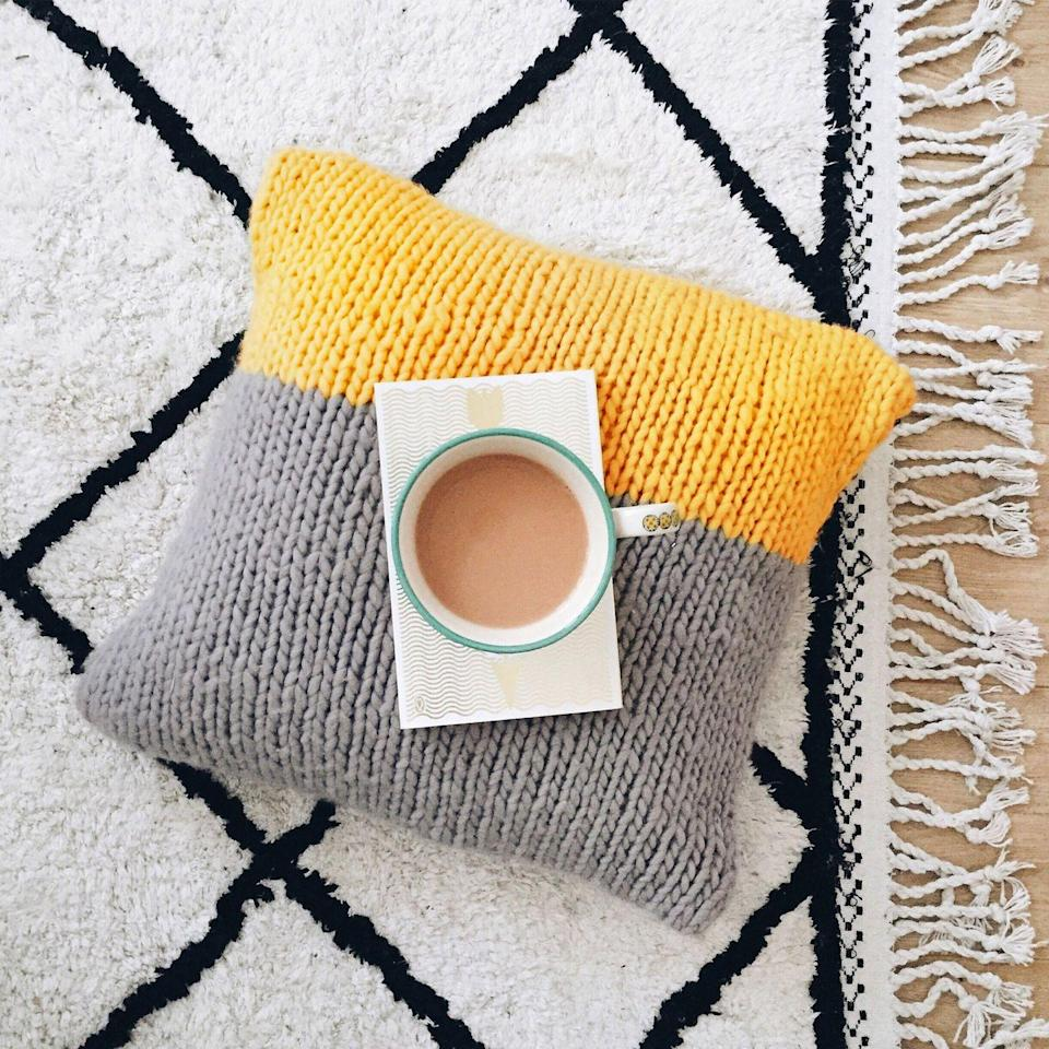 """<p><a class=""""link rapid-noclick-resp"""" href=""""https://www.stitchandstory.com/products/masley-cushion-cover-knitting-kit"""" rel=""""nofollow noopener"""" target=""""_blank"""" data-ylk=""""slk:BUY NOW"""">BUY NOW</a> <strong>£48, Stitch and Story</strong></p><p>Take your pick from four contemporary colour-block choices with this Masley Cushion Cover Knitting Kit. You'll need to supply the <a href=""""http://www.prima.co.uk/content/cushion-patterns/"""" rel=""""nofollow noopener"""" target=""""_blank"""" data-ylk=""""slk:cushion"""" class=""""link rapid-noclick-resp"""">cushion</a> pad to stuff inside your completed cover, which measures 16cm/6.3in x 16cm/6.3in.</p><p><strong>What's in the kit:</strong> The pattern, three balls of chunky wool, size 12 bamboo needles (optional), sewing needle and a re-usable storage bag.</p><p><strong>Best for: </strong>Couch potatoes! (Well, it's the comfiest place to knit…)</p>"""