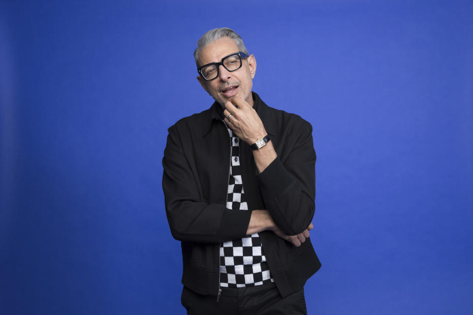 """Jeff Goldblum poses at the Disney + launch event promoting """"The World According to Jeff Goldblum"""" at the London West Hollywood hotel on Saturday, Oct. 19, 2019 in West Hollywood, Calif. (Photo by Mark Von Holden/Invision/AP)"""