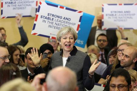 Britain's Prime Minster Theresa May delivers a stump speech at Netherton Conservative Club during the Conservative Party's election campaign, in Dudley April 22, 2017.   REUTERS/Chris Radburn/Pool
