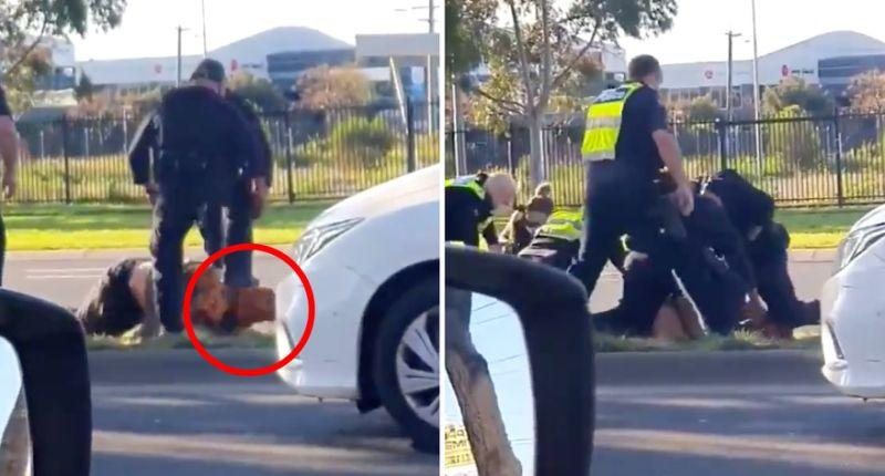 Video shows Victoria Police arresting a man in Epping.