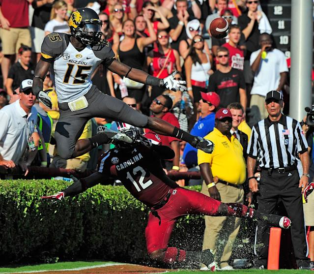 COLUMBIA, SC - SEPTEMBER 22: Brison Williams #12 of the South Carolina Gamecocks breaks up a pass in the end zone intended for Dorial Green-Beckham #15 of the Missouri Tigers during play at Williams-Brice Stadium on September 22, 2012 in Columbia, South Carolina. (Photo by Grant Halverson/Getty Images)