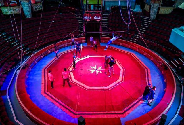 Members of the Tower Circus in Blackpool rehearse ahead of reopening