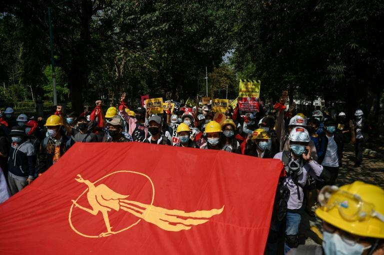 Students protest against the military government at Yangon University on Thursday