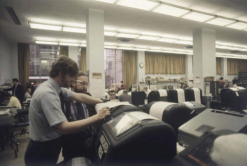 Associated Press journalists work in the Washington bureau on Election Day in 1972. (AP Photo)
