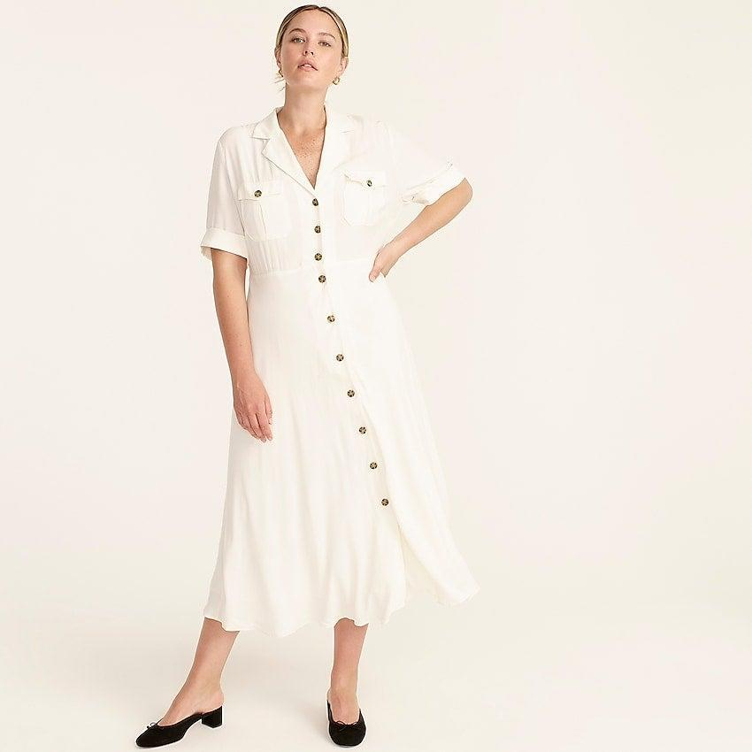 """<br><br><strong>J. Crew</strong> Collared camp-pocket shirtdress, $, available at <a href=""""https://go.skimresources.com/?id=30283X879131&url=https%3A%2F%2Fwww.jcrew.com%2Fp%2Fwomens%2Fcategories%2Fclothing%2Fdresses-and-jumpsuits%2Fcollared-camp-pocket-shirtdress%2FBA920%3Fdisplay%3Dsale%26fit%3DClassic%26isFromSale%3Dtrue%26color_name%3Divory%26colorProductCode%3DBA920"""" rel=""""nofollow noopener"""" target=""""_blank"""" data-ylk=""""slk:J. Crew"""" class=""""link rapid-noclick-resp"""">J. Crew</a>"""