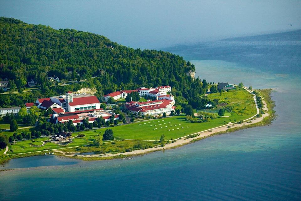 Aerial view of Mission Point resort on Mackinac Island