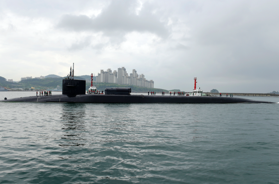 <em>The US Navy Ohio-class guided-missile submarine USS Michigan comes into port for supplies in Busan, South Korea (Rex)</em>