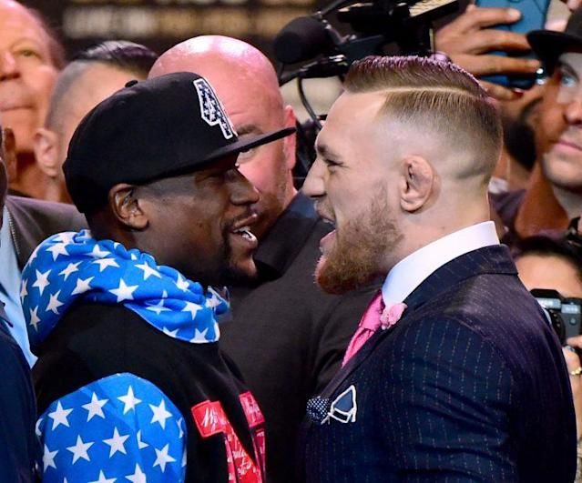 Conor McGregor took every opportunity to send a message to Floyd Mayweather Jr. at their presser on Tuesday. (Getty Images)