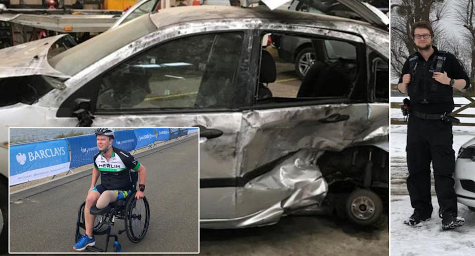 PC Dorman suffered injuries when his patrol car was hit by a drink driver. (Thames Valley Police/Tom Dorman)