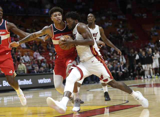 "<a class=""link rapid-noclick-resp"" href=""/nba/players/5470/"" data-ylk=""slk:Justise Winslow"">Justise Winslow</a> is in his third season with the Heat. (AP)"