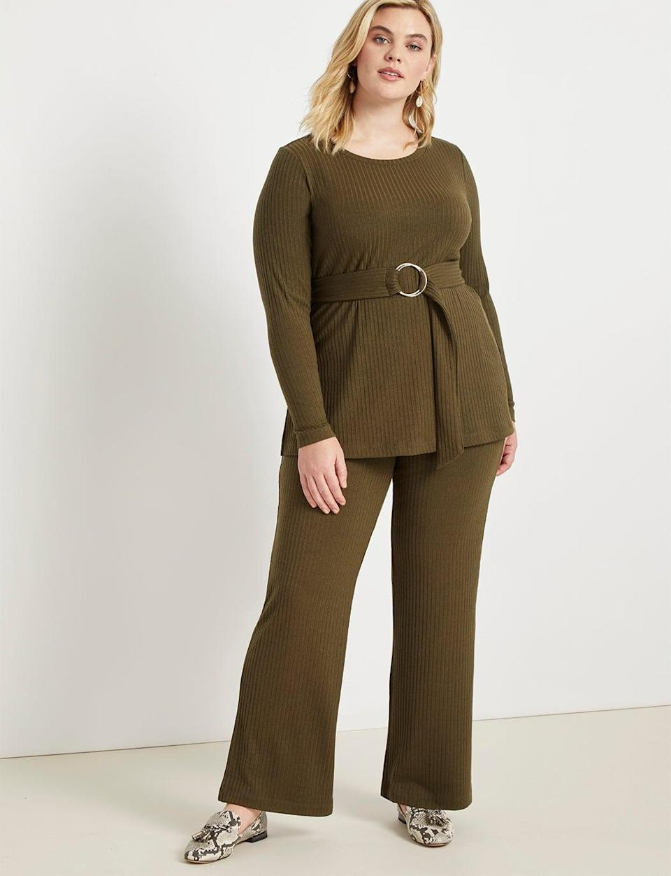 "<br> <br> <strong>Eloquii</strong> Ribbed Flare Leg Pant, $, available at <a href=""https://go.skimresources.com/?id=30283X879131&url=https%3A%2F%2Fwww.eloquii.com%2Fribbed-flare-leg-pant%2F1178638.html%3Fdwvar_1178638_colorCode%3D29"" rel=""nofollow noopener"" target=""_blank"" data-ylk=""slk:Eloquii"" class=""link rapid-noclick-resp"">Eloquii</a>"